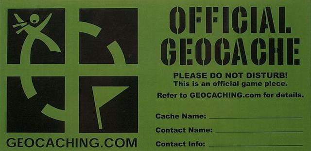 Geocaching cache container label